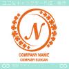 Nアルファベット,幸運,四葉のクローバーのロゴマークデザインです。