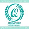 Qアルファベット,幸運,四葉のクローバーのロゴマークデザインです。