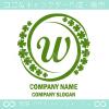 Wアルファベット,幸運,四葉のクローバーのロゴマークデザインです。