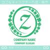 Zアルファベット,幸運,四葉のクローバーのロゴマークデザインです。
