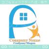 家,P文字,人がイメージのロゴマークデザインです。