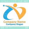 人,勝利のV,文字Iのイメージのロゴマークデザインです。