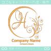 H文字,花,フラワー,月の上品なロゴマークデザインです。