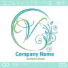 V文字,月,フローラル,花の上品なロゴマークデザインです。