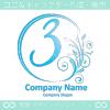 数字3,花,フラワー,月のイメージのロゴマークデザインです。