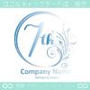 7周年記念,花,フラワー,月のイメージのロゴマークデザインです。