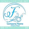 Fアルファベット,波,海,月,芸術のロゴマークデザインです。