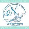 Nアルファベット,アート,海,波,月のロゴマークデザインです。
