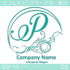 Pアルファベット,アート,海,波,月のロゴマークデザインです。