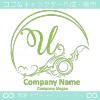 Uアルファベット,アート,海,波,月のロゴマークデザインです。