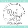 Wアルファベット,アート,海,波,月のロゴマークデザインです。