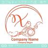 Xアルファベット,アート,海,波,月のロゴマークデザインです。