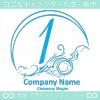 数字1,アート,海,波,芸術のロゴマークデザインです。