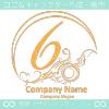 数字6,アート,海,波,芸術のロゴマークデザインです。