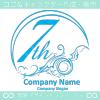 7周年記念,海,波,芸術のロゴマークデザインです。