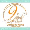 数字9,アート,海,波,芸術のロゴマークデザインです。
