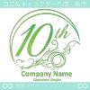 10周年記念,海,波,芸術のロゴマークデザインです。