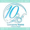 数字10,アート,海,波,芸術のロゴマークデザインです。