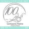 数字100,アート,海,波,芸術のロゴマークデザインです。