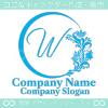 Wアルファベット,花,フラワーの優美なロゴマークデザイン