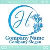 H文字,フローラル,花の美しいロゴマークデザインです。