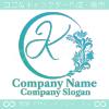 K文字,フローラル,花の美しいロゴマークデザインです。