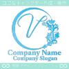 V文字,フローラル,花の美しいロゴマークデザインです。