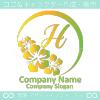 H文字,ハイビスカス,トロピカルをイメージしたロゴマークデザイン