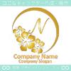N文字,沖縄,ハイビスカスをイメージしたロゴマークデザイン