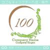 文字100、ヨーロピアン、貴族の紋章のイメージのロゴマークデザイン