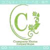 C文字、薔薇、鏡、花、魅力的なイメージのロゴマークデザインです。