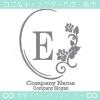 E文字、薔薇、ミラー、ヨーロッパのイメージのロゴマークデザイン。