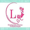 L文字、薔薇、鏡、花、魅力的なイメージのロゴマークデザインです。