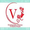 V文字、薔薇、鏡、花、魅力的なイメージのロゴマークデザインです。