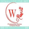 W文字、鏡、バラ、薔薇、フラワーをイメージしたロゴマークデザイン