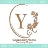 Y文字、薔薇、鏡、花、魅力的なイメージのロゴマークデザインです。