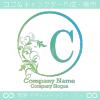 C文字、太陽、リーフ、エレガントなイメージのロゴマークデザイン。
