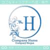 H文字、リーフ、太陽、ヨーロッパのイメージのロゴマークデザイン。