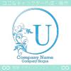 U文字、太陽、リーフ、エレガントなイメージのロゴマークデザイン