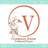 V文字、太陽、リーフ、エレガントなイメージのロゴマークデザイン