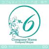 数字6、太陽、リーフ、魅力的なイメージのロゴマークデザインです。