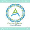 A文字、フラワー、リースをイメージしたロゴマークデザインです。