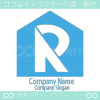 R文字と住宅をイメージした不動産系のロゴマークデザインです。