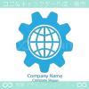 技術と地球のシンボルマークのロゴマークデザインです。