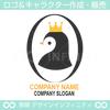 王冠、かわいいペンギンのキャラクター系ロゴ
