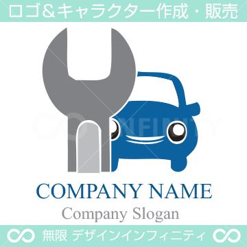 車修理,レンチ,工具をイメージしたキャラクター&ロゴマークデザイン