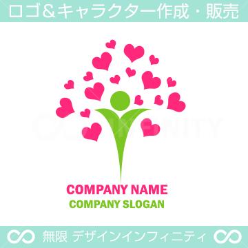人間,アイ,ハート,愛,ラブがイメージのロゴマークデザインです。