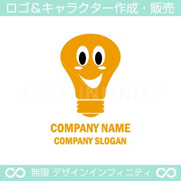 電球,電気,笑顔がキャラクター系のロゴマークデザインです。