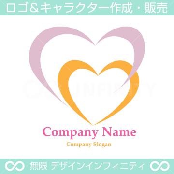 ハート,親子愛のイメージのロゴマークデザインです。