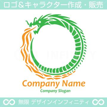 ドラゴン,竜,O文字のイメージのロゴマークデザインです。